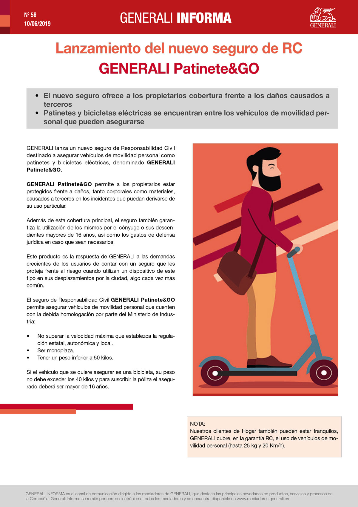 Llançament de la nova assegurança de RC GENERALI Patinet&GO
